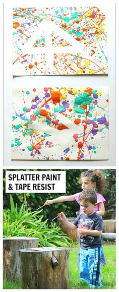 Fun and Easy Process Art Activity for Kids: Splatter Paint and Tape Resist for toddlers, preschool, kindergarten and on up. Fun outdoor activity for summer! ~ BuggyandBuddy.com