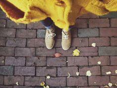 fall tennies and a bulky sweater