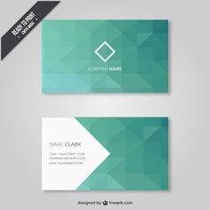 Геометрическая визитная карточка в зеленых тонах Бесплатные векторы