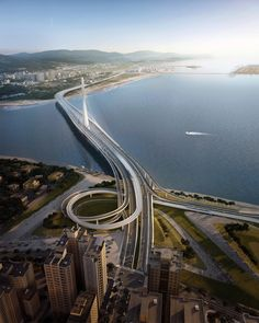 Image 8 of 12 from gallery of Construction Begins on Zaha Hadid Architects' Record-Breaking Danjiang Bridge in Taipei. Danjiang Bridge by Zaha Hadid Architects. Image © render by VA Zaha Hadid Architects, Arquitetos Zaha Hadid, Famous Architects, Amazing Architecture, Modern Architecture, Architecture Interiors, Chinese Architecture, Zaha Hadid Projects, City Skylines Game