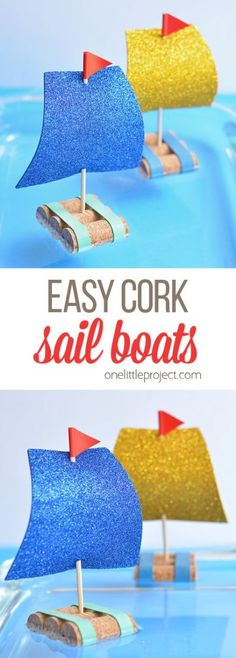 These cork sail boats are so easy to make and they actually float in water! This is such a simple kids craft idea and a great low mess activity to try with the kids this summer! Each boat takes less than 5 minutes to make! for boys Easy Cork Sail Boats Summer Crafts For Kids, Crafts For Kids To Make, Craft Activities For Kids, Boat Craft Kids, Simple Kids Crafts, Water Crafts Kids, Simple Craft Ideas, Creative Ideas For Kids, Cool Crafts