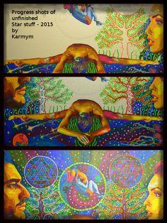 Progress shots of 'Star stuff - Yoga Art, Visionary Art, Psychedelic Art, Yin Yang, Cosmic, Disney Characters, Fictional Characters, Shots, Paintings