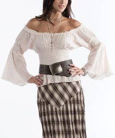 Take a look at this Rancho Estancia Ivory Melaina Eyelet Peasant Top - Women & Plus on zulily today!