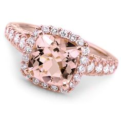 Jewelry Point - Peach Pink Morganite Diamond Halo Rose Gold Engagement Ring, $1,490.00 (https://www.jewelrypoint.com/peach-pink-morganite-diamond-halo-rose-gold-engagement-ring/)