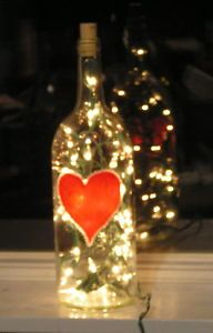 Valentine decor, Lord know I have some of these empty bottles around the house