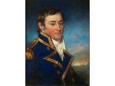 John Russell, R.A. (British, 1745-1806) Portrait of Captain Matthews, R.N., bust-length, in full dress uniform signed and dated in pencil 'J. Russell RA pinxt./1800-'  pastel and bodycolour. John Matthews was made a Captain on 13th September 1793 and was still serving in this rank when he died on 21st March 1798, indicating this is a posthumous commemorative image. John Russell, Sea Captain, September, 21st, British, Pencil, Pastel, Portrait, Image