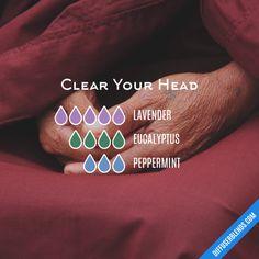 Clear Your Head - Essential Oil Diffuser Blend #LavenderEssentialOil #LavenderFields