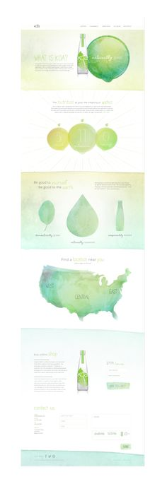 Challenge Create a site that educates consumers that koa is organic water derived from fruit and vegetables without revealing the complicated process of how it's made.  Execution By using earthy colors and illustrating organic shapes, the consumer has an understanding that this is a natural and refreshing beverage. The watercolor textures and handwritten type add a playful and beautiful aesthetic.
