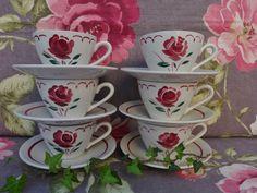 Badonviller décor ROSE RARE ensemble de 6 tasses à café avec sous tasse 1930
