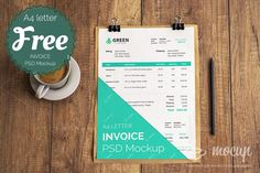 Totally FREE PSD template for A4 sheet to be used on invoices or documents. This's photorealistic freebie PSD Mockup of the invoice, pdf or pape...