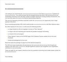 Sponsorship Application Templates  Free Sample Example