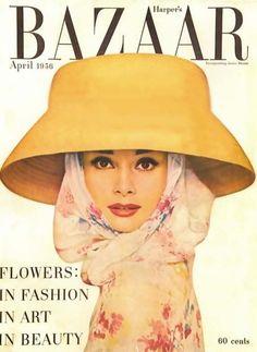 Audrey Hepburn Harpers Bazaar Vintage Magazine cover 1956