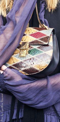 Chloe | Drew Shoulder Bag in Multi-Color Diamond-Shaped Python Patchwork | cynthia reccord