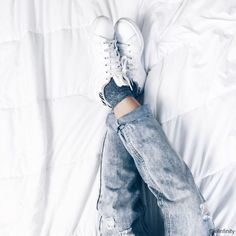 White sneakers + glitters socks