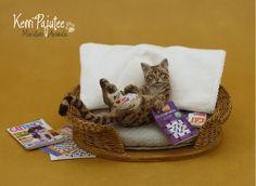 Miniature 1:12 Cat in Cast sculpture by Pajutee.deviantart.com on @DeviantArt