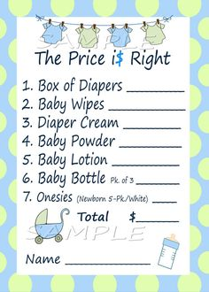 Price Is Right Baby Shower Game  Blue & Green by M2MPartyDesigns, $4.99