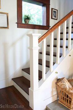 Ideas For Farmhouse Staircase Decor Newel Posts Staircase Remodel, Staircase Railings, Staircase Design, Banisters, Diy Stair Railing, Wood Balusters, Painted Staircases, Spiral Staircases, Stairways