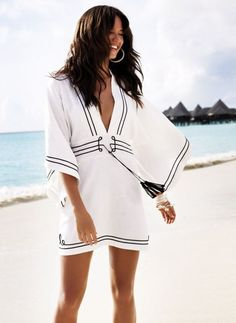 black and white bathing suit cover up