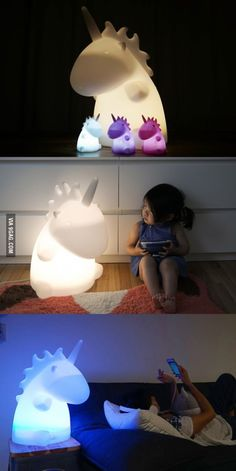 Giant Unicorn Lamp...whoa!! I have a little one, the big one must be so bright!