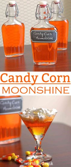 I've had a lot of requests to do a Candy Corn Vodka infusion, similar to Skittles Vodka. But since I also get a lot of questions about doing infusions with other liquors I decided to give moonshine a try. Fancy Drinks, Cocktail Drinks, Yummy Drinks, Alcoholic Drinks, Drinks Alcohol, Liquor Drinks, Halloween Cocktails, Halloween Goodies, Halloween Party