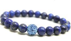 Lapis Lazuli and blue Swarovski crystals bead stretch bracelet