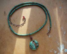 Vintage Turquoise Art Glass Copper Pendant Necklace on Etsy, $54.79 AUD