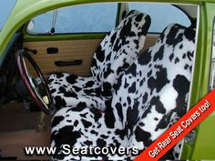 Cow Print Seat Covers in a Classic VW bug. Custom Fit Seat Covers, Hell On Wheels, Cow Skin, Rear Seat, Cows, My Style, Car Accessories, Jeep, Porsche
