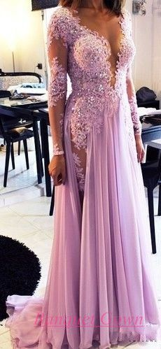 2016 Modest Lilac Long Prom Dresses Long Sleeves Deep V Neck Lace Beaded Chiffon Sexy Evening Gowns - Thumbnail 1