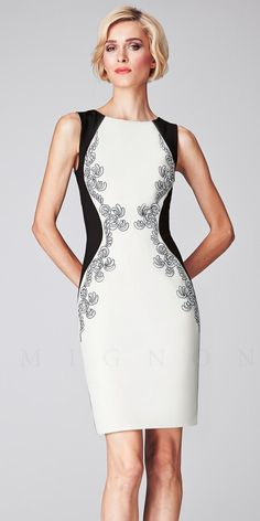 Embroidered Color Block Sheath Cocktail Dresses by Mignon-image
