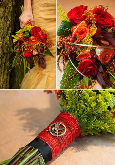 This Is What A 'Hunger Games'-Themed Wedding Looks Like - Location: The MEZZ, Planning: Maricel Baker Let's Make it Extraordinary!, Design: Natalie Henry-Charles Pretty Peacock Planning, Photography: David Lilly of Lilly and Lilly Photography, Models: Adel Travis and Andrew Johnson, Attire: Jessica Rios of All Brides 2 Be and Formalwear,  Flowers: Heather Coscia of The Wild Hare Flowers,
