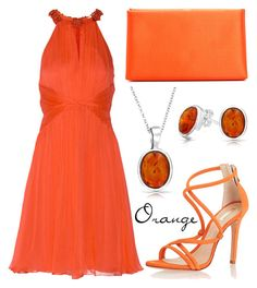Orange by missloulouxx on Polyvore featuring polyvore, fashion, style, Matthew Williamson, Giorgio Armani, Bling Jewelry, Schutz and clothing