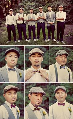Real Wedding: Joann + Jon's Nestldown Wedding Modern wedding. Suspenders and bow ties were the perfect choices for the groom and groomsmen! Great Gatsby Motto, Great Gatsby Theme, Great Gatsby Wedding, 1920s Wedding, Perfect Wedding, Great Gatsby Men Outfit, Prohibition Wedding, Gatsby Themed Party, Vintage Wedding Theme