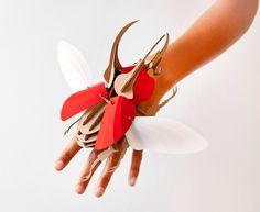 DIY Paper Beetle Sculpture Kits by Assembli - Atlas Beetle Red
