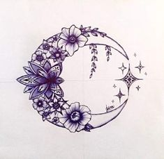 You could change the stars to the Cancer constellation. You could change the stars to the Cancer constellation. You could change the stars to the Cancer constellation. Star Tattoos, Body Art Tattoos, Tattoo Drawings, Cool Tattoos, Moon Star Tattoo, Galaxy Tattoos, Half Moon Tattoo, Doodle Tattoo, Flower Drawings
