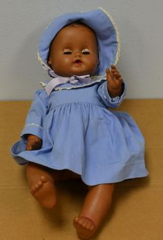 Vintage 1950's Sun Rubber Co. Fully Jointed Black Baby Doll with Sleep Eyes #DollswithClothingAccessories