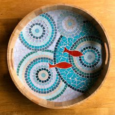 Large round mosaïc tray Fishes and circles by AnisCeladon on Etsy, €130.00
