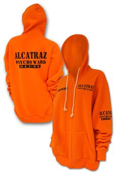 Banned Alcatraz Hoody.    The softest, cosiest, brightest hoody you will ever own! Bright Cotton Hoody. Zip front fastening. Black prints on the front and back. Comes in 5 sizes from S-XXL.  This hoody definitely won't go unnoticed, make sure you behave yourself when you wear this!