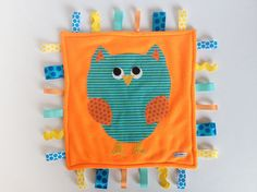 Minky Fleece Owl Tag Blanket in Florescent Orange and by kakabaka, $30.00