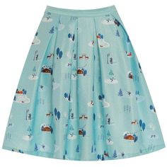'Peachy' Ice Skating Print Swing Skirt ($35) ❤ liked on Polyvore featuring skirts, blue, wide skirt, blue green skirt, swing skirt, blue swing skirt and stretchy skirt