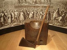 The most famous people to lose their head were Henry VIII's two unfortunate wives, Anne Boleyn and Catherine Howard. Here is the executioner's axe and chopping block in the White Tower museum (inside The Tower of London). Their bodies are said to lay under the Chapel of St Peter ad Vincula.