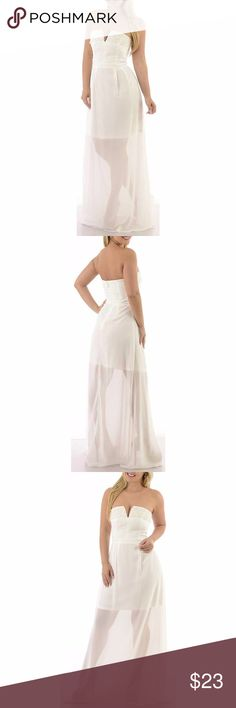 White Long Strapless Wedding Gown maxi Bust and part of skirt are lined. Thick beautiful fabric with appliques. Model is wearing a small & the exact same style. Close up shows fabric quality-Color dif is lighting. Brand new with tag!  Small=size 2,3,4  Medium= size 5,6,7  Large= size 8,9,10  Fabric designed w/stretch-Fit similar to styles @ Hello Molly, ASOS, Showpo ,Hot Miami Styles, Sabo Skirt , NBD, Lulus ,Tobi, Touch Dolls, Fashion Nova, Forever 21, Nasty Gal C601  Visit my closet for…