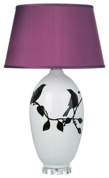 Ceramic Bird Table Lamp with Plum Silk Shade transitional-table-lamps