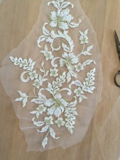 Ivory Cotton Lace Applique with Gold Thread For by Retrolace