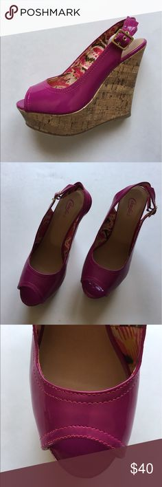 """🆕 Candie's Pink Platform Wedges NWOT - You will be pretty in pink with these shoes.  Patterned interior.  Never worn.  Size - 8  Platform - 1.5""""/Heels - 5.25"""" Candie's Shoes Platforms"""