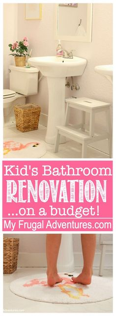 DIY bathroom renovation on a budget! Wait until you see how a little paint and tile transformed this space with products from Lowe's. AD  http://myfrugaladventures.com/2017/06/budget-bathroom-makeover/