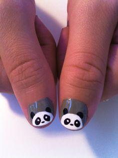 cute panda nail art by Madeline Poole