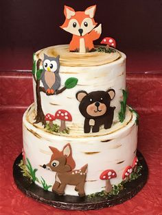 The Effective Pictures We Offer You About Baby Shower Themes dr seuss A quality picture can tell you Boy Baby Shower Themes, Baby Shower Fun, Baby Shower Cakes For Boys, Woodland Theme Cake, Woodland Party, Gateau Baby Shower Garcon, Comida Para Baby Shower, Fox Cake, 2 Baby