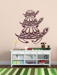 Housewares Vinyl Decal Three Turtles Nursery Bath Home Wall Art Decor Removable Stylish Sticker Mural Unique Design for Any Room Perfectly fit for any clean, smooth and flat surface.. It is made of high-quality vinyl material. Send us message with color you choose from our color palette otherwise decal willbe shipped in Black. Size of this decal is  22''x22'' or 56x56 cm. The decal is fully remova... #Home_Improvement