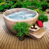 """32"""" H x 61"""" W x 70"""" D -- $2500 Found it at Wayfair - 4-Person 12-Jet Rock Solid Luna Plug and Play Spa"""