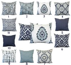Indigo blue navy gray white pillow throw home decor decorative accent pillows Blue Throw Pillows, White Pillows, Couch Pillows, Accent Pillows For Couch, Living Room Small, Navy Living Rooms, Dark Grey Couches, Blue Accents, Interiores Design
